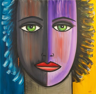 Untitled, Two Faced Series, Collaboration with Peter Max ©2012 Pop Artist Michael Perez   at Gallery 212 Miami   Photo Courtesy Fred Love Photo