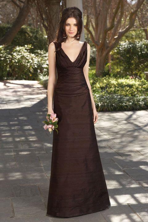 Pretty A-line empire waist taffeta dress for bridesmaid