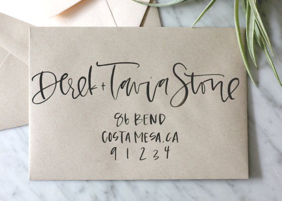 Kraft envelope with black ink calligraphy name(s) and hand lettered address. Each envelope is hand painted with your guests name. Many envelope