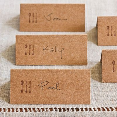 REVEL: Stamped Place Cards http://prettyweddingidea.com/  with a lilac or tree stamp instead, with fine lace layer over stamp.