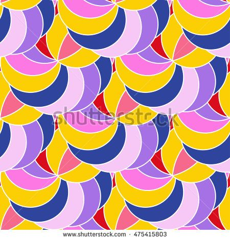 Colorful circular seamless pattern. Vector flat background.