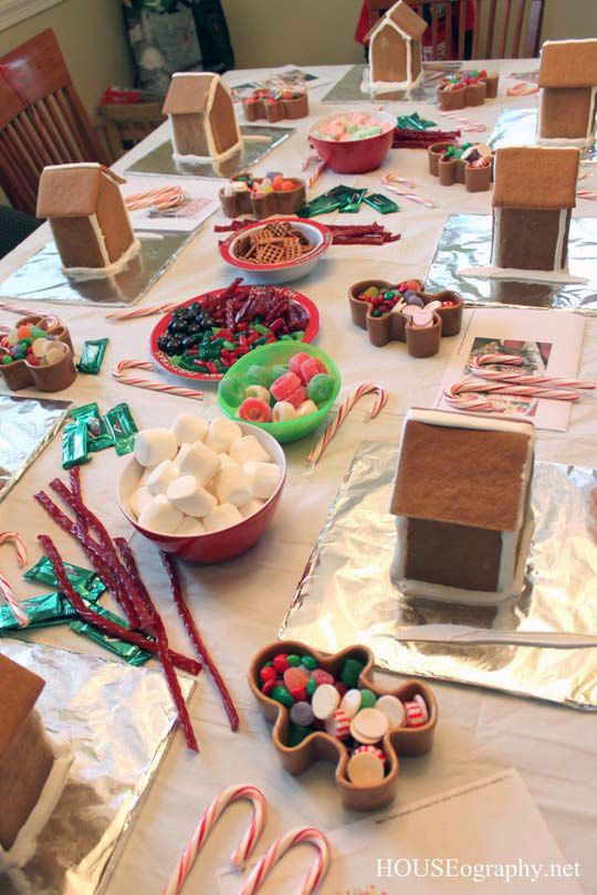 A crafty party idea for next Christmas. Not sure the kids would leave enough candy for decorating though.