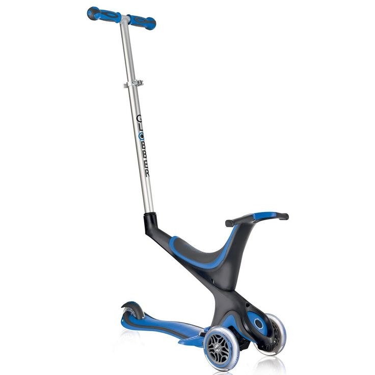 Globber Evo 4-in-1 Convertible Light Up 3 Wheel Scooter - Blue