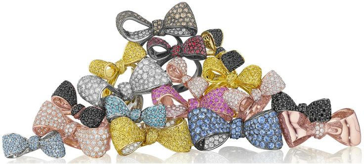 Gemstone and diamond bow rings by Mimi So. Via Diamonds in the Library.