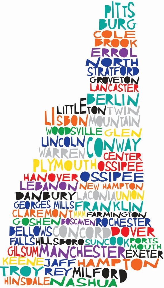"""NEW HAMPSHIRE State Print Digital Illustration Map by mollymattin, $15.00 --This is pretty cool! I only have one problem, where it says """"Bellows Falls"""" it should say Walpole. Bellows Falls isn't in New Hampshire. It's in Vermont."""