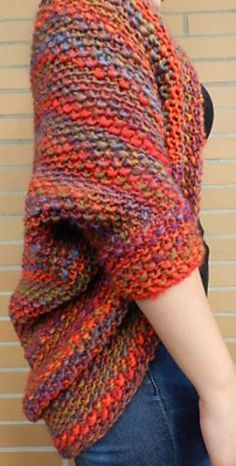 Knit a beautiful and cozy shrug in every color of the rainbow! :) free pattern