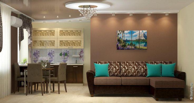 Или более смелый выбор: стены и покрытие пола цвета шоколада, а мебель  бирюзовая