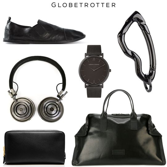 Clockwise: Shoes by Marséll, Watch by Larsson & Jennings, Carabiner keychain by @svorndesign, Bag by Alexander McQueen, Dopp Kit by Tom Ford, Headphones by Master & Dynamic   #edc #travel #gear #traveller #bag #allblack #black #luxury #headphones #watch #carabiner #keychain #accessories #mensfashion #style #mensstyle