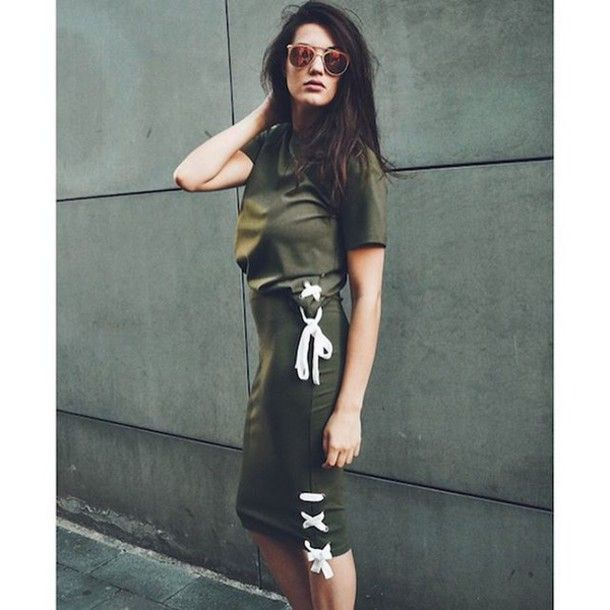 Skirt: tumblr green top short sleeve top green pencil midi sunglasses olive green lace up