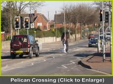 Pelican crossing  Stop, press the button, wait, and the cars will stop however heavy the flow of traffic.  When the green man appears, the pedestrian can cross the road in safety.