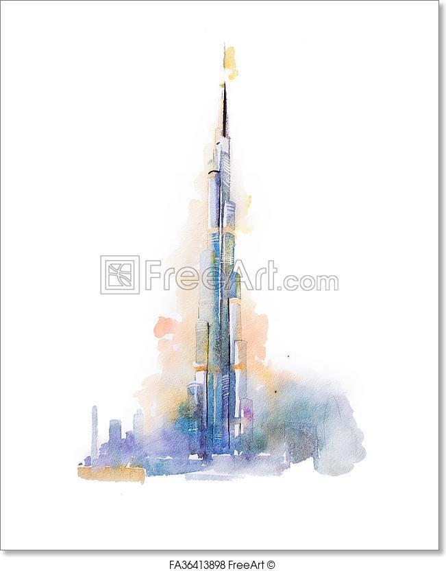 D Painting Exhibition In Dubai : Art print of watercolor drawing burj khalifa tower in