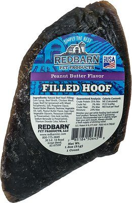 Redbarn Peanut Butter Filled Cow Hooves Dog Treats, 4-in chew, 1 count - Chewy.com