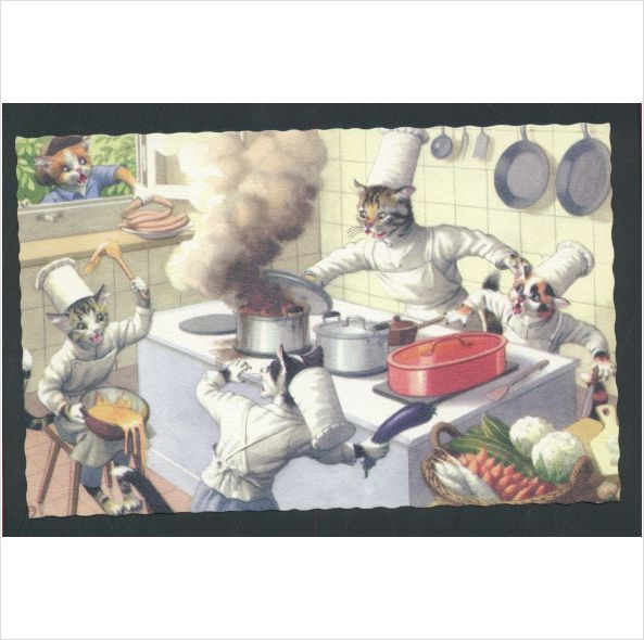 Alfred Mainzer Cats Chefs Cooking In The Kitchen Cat