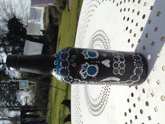 Day of the Dead Mexican design hand-painted Wine by BritishBoho