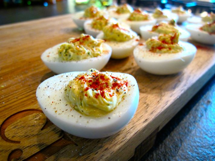 The traditionally creamy filling of these deviled eggs get a crispy bite from perfectly cooked bacon