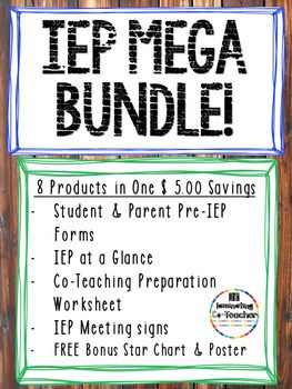Everything a special education teacher needs! - IEP at a Glance Template - Pre-IEP Parent and Student Feedback Forms - Co-Teaching Preparation Worksheet - IEP Mtg in Progress Signs for your Door *2 FREE BONUS PRODUCTS - I am working towards 6 star