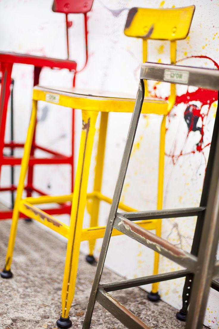 Yellow tabouret chairs - Tabouret De Bar Version Vieilli Couleur