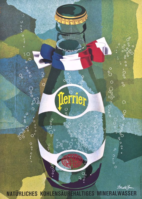 Perrier by (c. 1955)   Donald Brun (1909 - 1999) was one of the most successful Swiss graphic artists of his days.   Vintage Posters at International Poster Gallery     http://www.pinterest.com/richtapestry/vintage-posters/