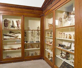 De kasten van Bleuland. Alle objecten in dit originele historische kabinet komen uit de privé-verzameling van hoogleraar in de geneeskunde Jan Bleuland (1756-1838) en werden door hem gebruikt in het onderwijs aan medische studenten.   Universiteitsmuseum Utrecht