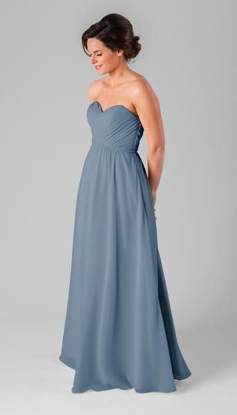 Simple and affordable, Kennedy Blue Parker is the perfect strapless chiffon dress that will look great on each of your girls. The bodice is filled with light pleating and the natural waist comes to a