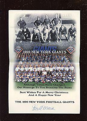 1999 New York Giants NFL Football Christmas Card Signed By Wellington Mara