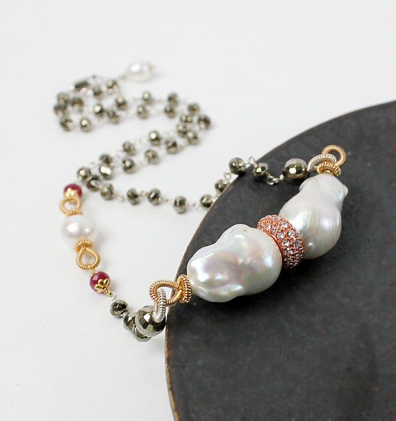 Baroque Pearl and Pyrite Nacklace by sonhee on Etsy, $263.00