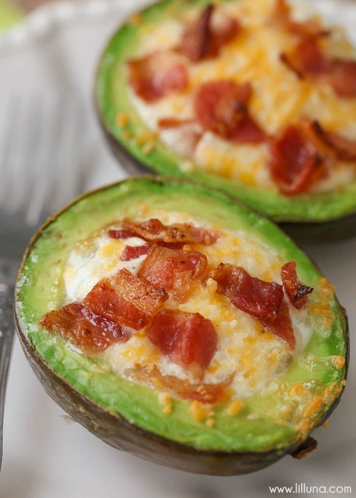 Avocado Bacon and Eggs  by liluna: Try them with nitrate free bacon and skip the sprinkle of cheese. #Breakfast #Avocado #Bacon #Eggs