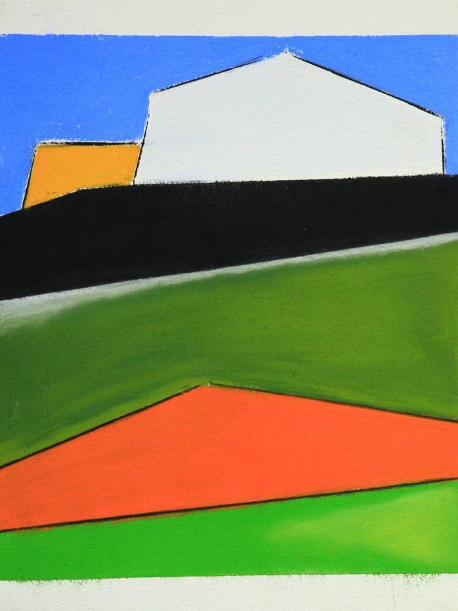 Edoardo Milani, Casa arancione (pastelli e carboncino su carta - 2014)