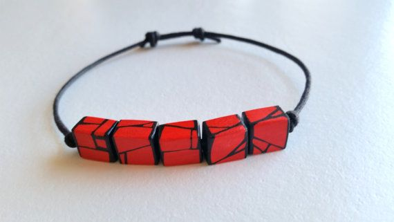 Red Geometric Wood Bead Adjustable Bracelet by HueWood on Etsy