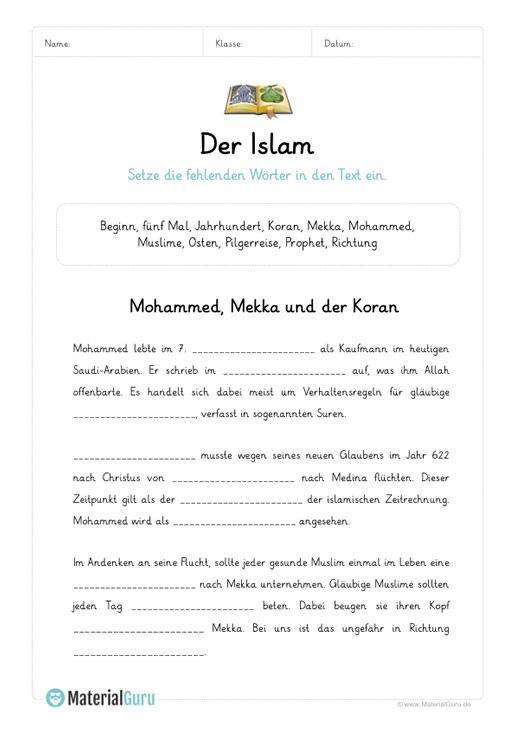 ein kostenloses arbeitsblatt zum thema islam auf dem die sch ler einen l ckentext zum islam. Black Bedroom Furniture Sets. Home Design Ideas