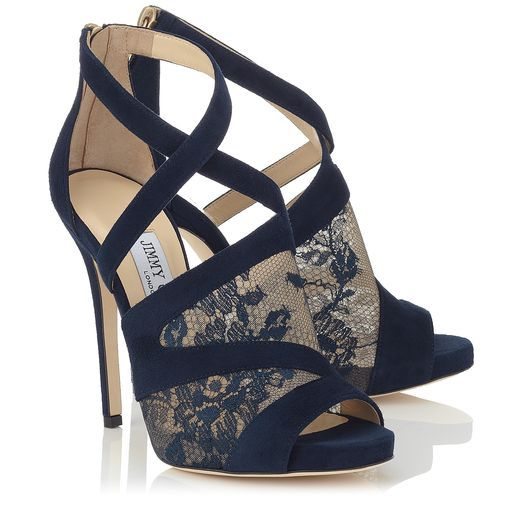 Jimmy Choo Vantage Navy Lace And Suede P Toe Sandals