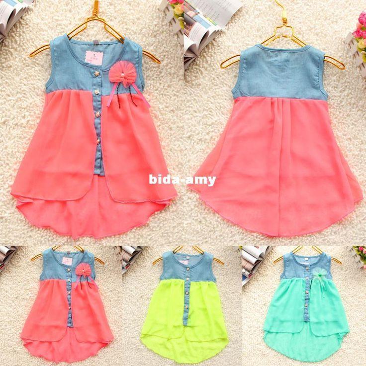 Wholesale 2013 Fashion - Buy Summer 2013 Fashion Children Girls Denim Floral Buttons Soft Chiffon Dress Cute Baby Kids Infants Sleeveless Dress Free Shipping, $19.55 | DHgate