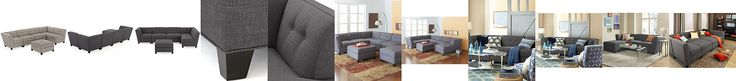 Harper Fabric 6-Piece Modular Sectional Sofa (2 Square Corner Units, 3 Armless Chairs and Ottoman)