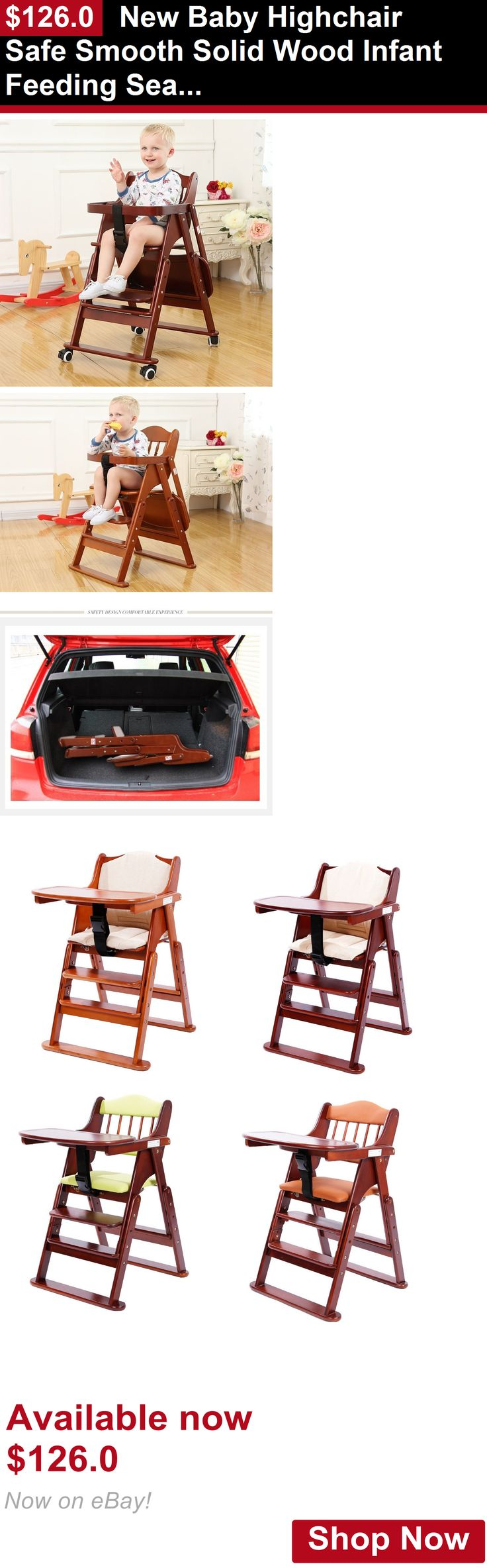 Baby High Chairs: New Baby Highchair Safe Smooth Solid Wood Infant Feeding Seat Folding High Chair BUY IT NOW ONLY: $126.0