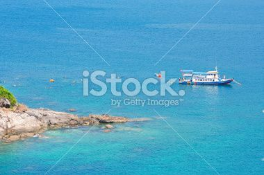 Ferry on the sea. Royalty Free Stock Photo