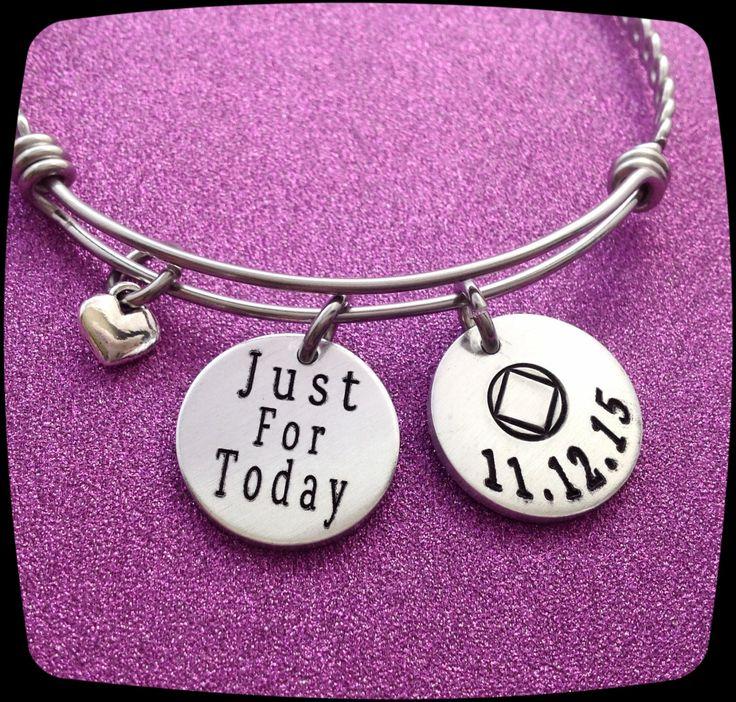 Sobriety Gift, Sobriety Jewelry, Sobriety Bracelet, Just For Today, Sobriety Anniversary, Sobriety Celebration, AA, NA jewelry, ENGRAVED by ThatKindaGirl on Etsy