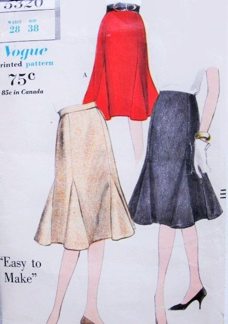 LOVELY 60s Godet Skirt Pattern Easy To Make by SoVintageOnEtsy