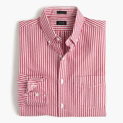 Take a page out of the preppy New England style manual and incorporate some lightweight seersucker into your rotation. This striped pattern is paired with the classic warm-weather fabric for a smart choice on hazy summer days. <ul><li>Slim fit, cut more narrowly through the body and sleeves.</li><li>Cotton.</li><li>Button-down collar.</li><li>Chest pocket.</li><li>Machine wash.</li><li>Import.</li></ul>