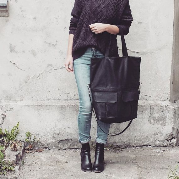 soft leather bag MIYA BLACK oversized tote bag by BAGSBYLENKA