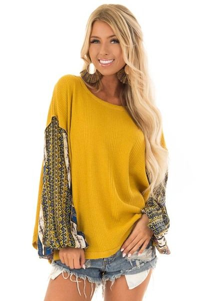 46a1590fb6f Mustard Waffle Knit Top with Long Printed Sleeves - Lime Lush Boutique