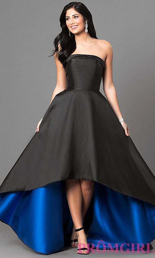 Long Strapless Black Prom Dress with High Low Hem