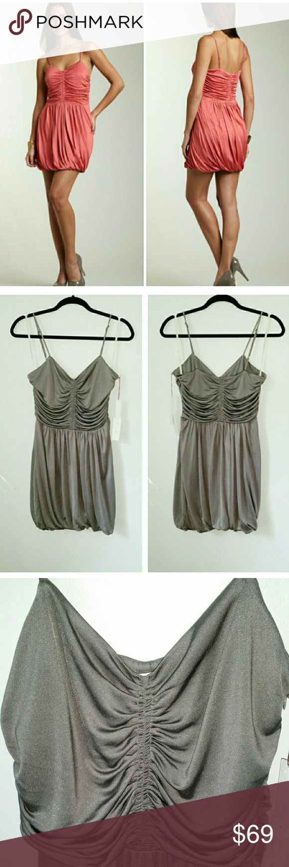 NWT Silver date night dress S Slinky silk knit camisole dress. Bubble skirt. Ruched front. Adjustable spaghetti straps. Side zipper. Elastic waist. Fully lined.  Great for: girls night out, date night, wedding, cocktail party, prom after party.  Clean. Perfect condition.  Style # 60616 Twelfth Street by Cynthia Vincent Dresses Mini