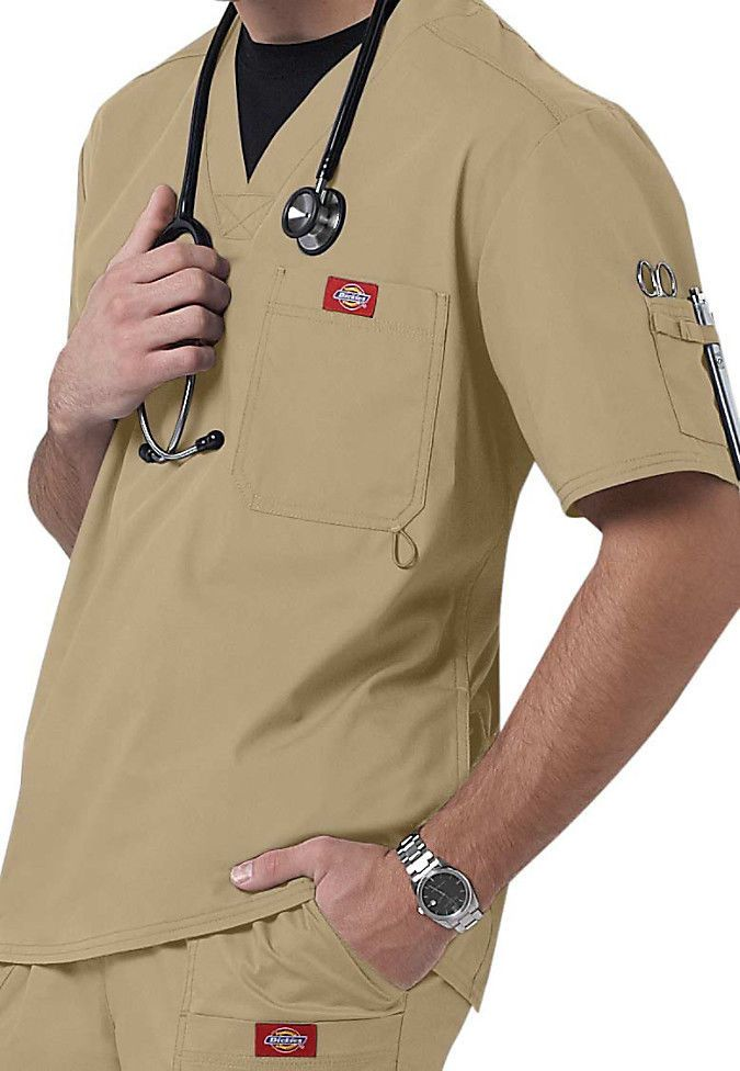 Dickies Medical Gen Flex Khaki Men's Utility Top Sz S-XXL NWT #Dickies