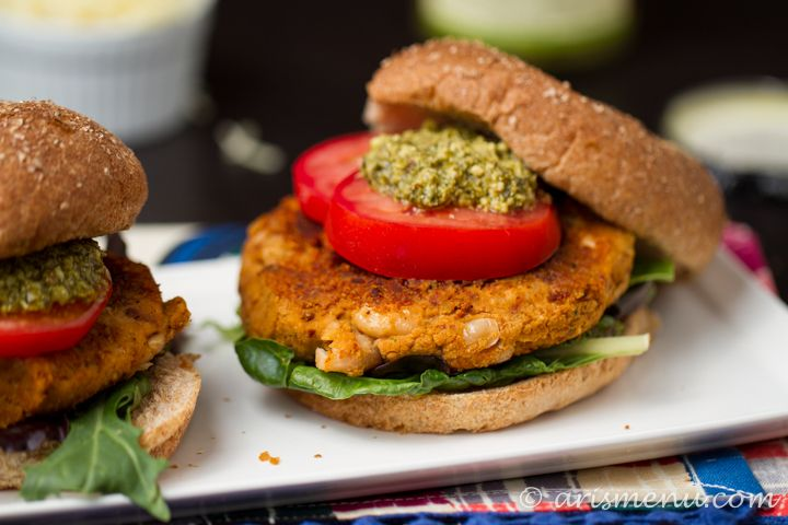 Sun-dried Tomato & Basil White Bean Burgers. The mixture in the recipe ...