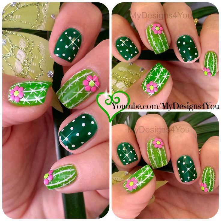 Fun Cactus Nail Art. Summer nails, green nails,