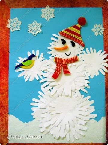 Snowman from handprints --- maybe for winter bulletin board