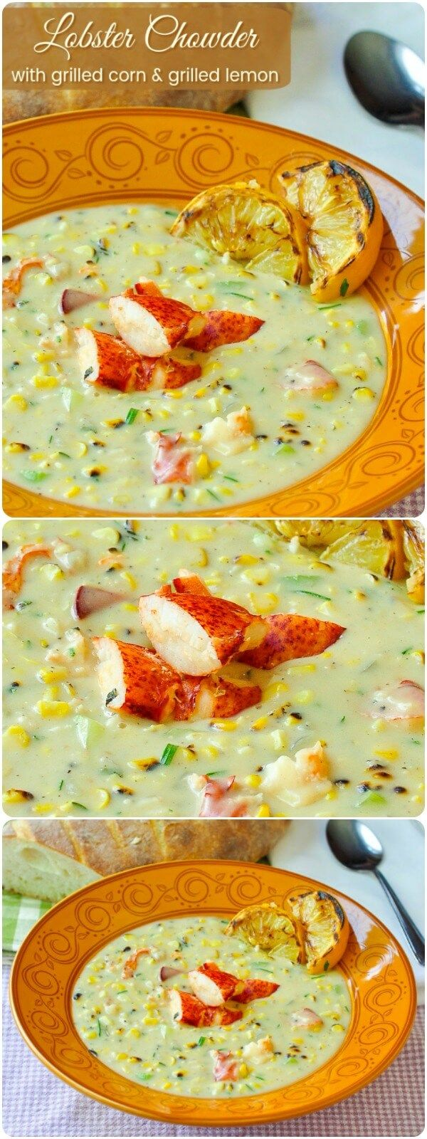 Lobster Chowder with Grilled Corn & Grilled Lemon - a delicious New England style chowder featuring succulent lobster & smoky sweet grilled corn then finished with a squeeze of grilled lemon.