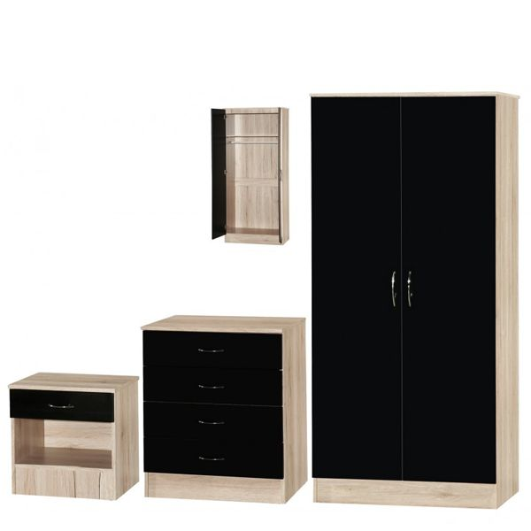 MARLA HIGH GLOSS BLACK OAK 2 DOOR BEDROOM SET MARLA HIGH GLOSS BLACK OAK SLIDER BEDROOM SET Bedroom Furniture Set-Oak, White, Black, Red, Blue, Mirrored bedroom furniture set available at MFD www.modernfurnituredeals.co.uk