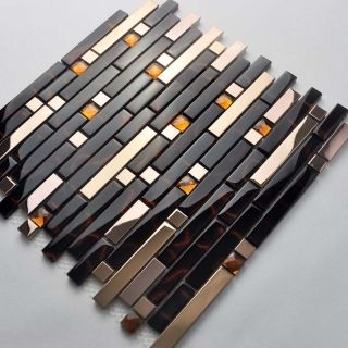 Wholesale Metal with base Backsplash Tiles 04 Stainless Steel Sheet Metal and Crystal Glass Blend Mosaic Wall 2-32   Hominter.com