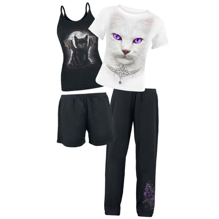 """Set di due pigiami """"White Magic"""" del brand #Spiral. Un pigiama è composto da pantaloncini e canottiera, l'altro da maglietta e pantaloni lunghi."""